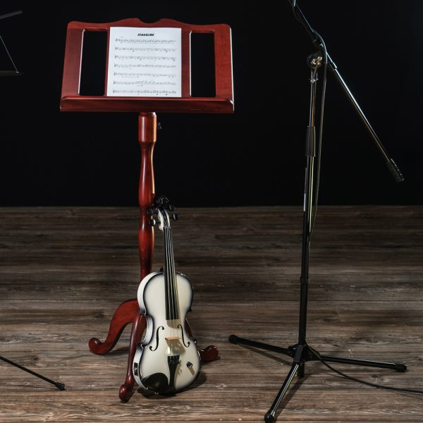 full view of Stageline wooden music stand beside violin and microphone stand