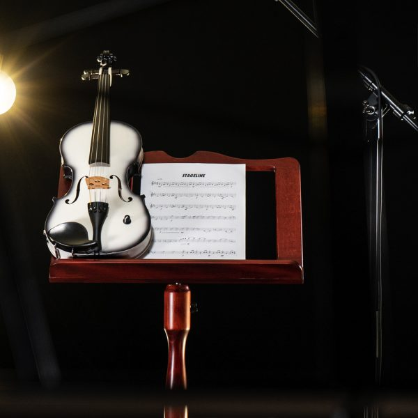 Closeup of violin and sheet music on Stageline wooden music stand