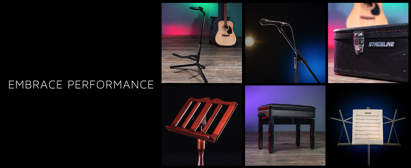 collage of instruments, microphones, and stands